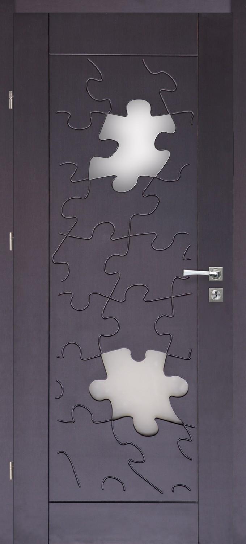 Drzwi z przeszkleniem Puzzle 10 wenge PVC | Wrocław